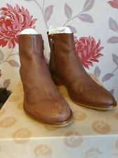 RED OR DEAD OKLAHOMA TAN BROWN COWBOY ANKLE BOOTS  UK 3