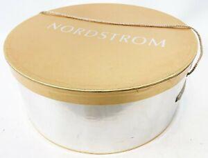 "Vintage NORDSTROM 16"" Gold Silver Sturdy Wide Brim Storage Hat Box Container"