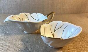 Carlton Ware Set Of 2 Leaf Bowls Ceramic Sand White With Gold Trim