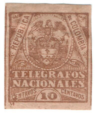 (I.B) Colombia Telegraphs : 10c Brown on Buff (1896)