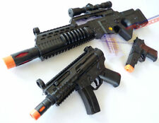 3x Toy Machine Guns Elec Special Forces Rifle MP5 w/ Sound FX Black 9MM Cap Gun