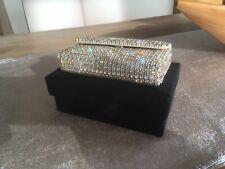 Gold-silberne Glamour Clutch Bag Swarovski Glitzer Glitter Cosmetic Abendtasche