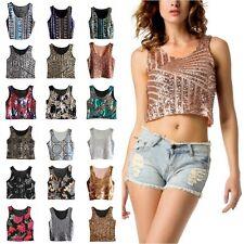 Glitter Sequin Cami Tank Summer Girl Beach Vest Crop Top Bralette Blouse T-Shirt