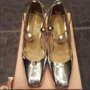 Jill Stuart silver leather shoes