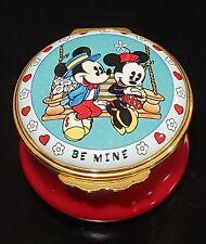 Rare 1996 Halcyon Days Disney Mickey Minnie Mouse Be Mine Pill Trinket Box