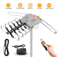 HDTV Antenna Amplified Digital TV Antenna 150Mile 360 Rotation Outdoor US Seller