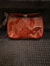 COACH Legacy C TURN LOCK RED Patent Leather Wristlet Wallet Clutch Case Purse