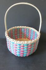 "Mauve & Turquoise w/natural ash 7.25"" Gathering Basket,  - Mary Sanipass, MicMac"