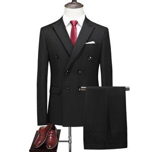 Mens Formal Slim Fit Suit 2pcs Blazer Jacket Pants Double Breasted Wedding New L