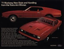 1971 FORD MUSTANG MACH 1 351 Boss HO V8 Red Sports Car VINTAGE ADVERTISEMENT