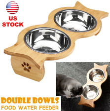 Double Bowl Cat Pet Puppy Raised Feeder Food Water Bamboo Stand + 2 Steel Dish
