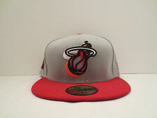 NEW ERA NBA MIAMI HEAT NEON LOGO POP FITTED CAP HAT SIZE 7 3/8 NWT GREY RED NWT