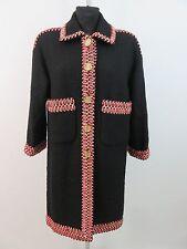 CHANEL Mantel Eggshape Coat Manteau Schwarz - Rot Fr.42 Dt.40 Wolle Traumhaft