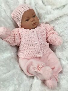 REBORN GIRL DOLL PINK KNITTED SPANISH OUTFIT WITH DUMMY P