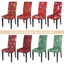 Christmas Chair Seat Covers Stretch Removable Slipcover Xmas Home Dining Decor