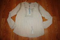 NWT Womens JOSEPH A. New Khaki Light Weight Peasant Long Sleeve Blouse Shirt L
