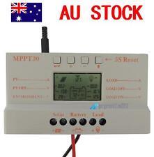30A MPPT Solar Panel Regulator Charger Controller 12V/24V With LCD USB For Light