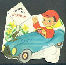 1958 Vintage Hallmark Greeting Card HAPPY BIRTHDAY NEPHEW Boy in Race Car