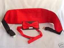 < Manuel's Deal > RED Polyester Bow tie and Cummerbund Set >>P&P 2UK >>1st Class