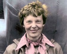 "AMELIA EARHART AVIATION PIONEER PILOT AUTHOR 8x10"" HAND COLOR TINTED PHOTOGRAPH"