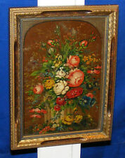 ANTIQUE OIL STILL LIFE  SIGNED  Flowers painting