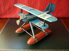 Extr. Rare 1920s SG Günthermann Gunthermann Tin Wind-up Water Biplane Airplane
