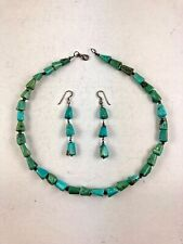 Pearl Necklace and Earrings Set Vintage Sterling Silver Turquoise Nugget Navajo