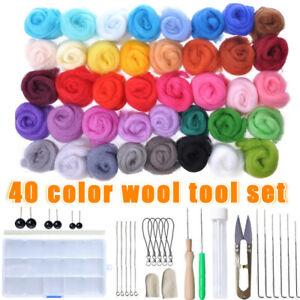 40 Colors Wool Felt Needles Tools Needle Felting Mat Starter DIY Kit Gifts AU A