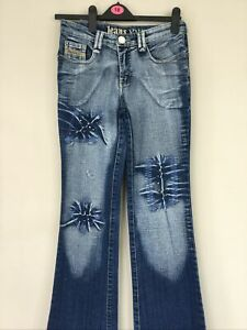 You YYP jeans Sparkly embroidered fade flare jeans with stretch 28W 32 L 90's