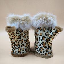 1Pair Soft Women Warm Winter Women Rabbit Fur Suede Fingerless Gloves Mittens