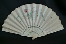 Antique Asian Hand Folding Fan Hand-Painted Florals On Silk Carved Bone Handle