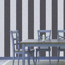 DeBona Crystal Striped Pattern Textured Glitter Vinyl Wallpaper Roll Silver/Black 9012