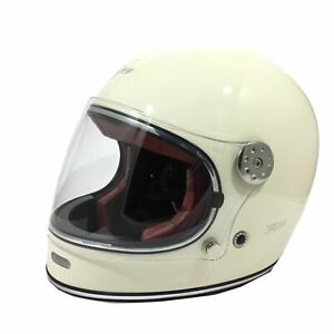 VIPER F656 VINTAGE RETRO HELMET, FIBRE-GLASS, WHITE (CREAM) SIZE SMALL RRP £139