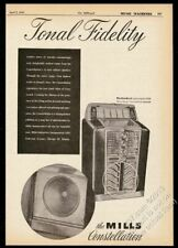 1947 Mills Constellation jukebox & speaker photo vintage trade print ad