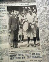 BABE RUTH New York Yankees Receives Plaque at Stadium PHOTO 1931 NYC Newspaper