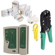 RJ45 Ethernet Network Cat5e Cable Tester Crimping Crimper Stripper 100 Connector