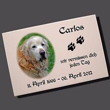 Grabstein Tiergrabstein Gedenktafel Keramik Hund-p06 ►Ihr Foto + Text◄ 30x20 cm