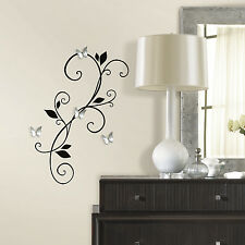 New BLACK SCROLL SCONCE WALL DECALS w/ BENDABLE BUTTERFLY MIRRORS Stickers Decor