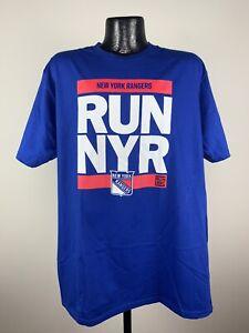 "Men's Fanatics New York Rangers "" RUN NYC, RUN DMC"" Blue NHL Shirt XL NWT"