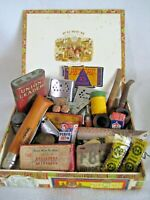 Vintage Men's Junk Drawer Lot Assorted Vintage Items In Cigar Box