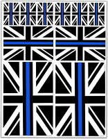 Set 10 Vinyl Decal Stickers UK Blue Line GB Union Jack Flag Car Helmet Moto D 40