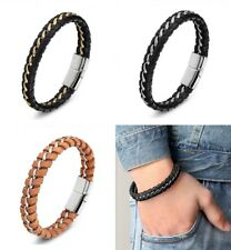 Deluxe Leather Braided Bracelet Stainless Steel Black Silver Gold Men's Real