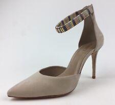Schutz Katiusia Beige Nobuck Metallic Ankle Strap Pumps Size 9.5B  324