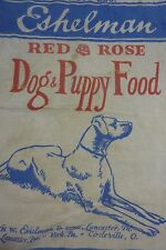 Old ESHELMAN RED ROSE DOG & PUPPY FOOD Cloth Sack Lancaster York Circleville