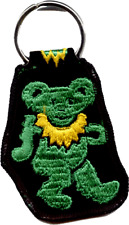 25012 Dancing Green Bear Psychedelic Hippy Hippie 1960s Cloth Keychain Key Ring