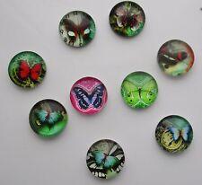 Color de la mezcla de vidrio cabujón de imagen de la mariposa colgante de bricolaje decoración de jardín 12mm #2