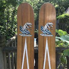 Vintage 50s Wooden Skis White Bear Water Ski Company Minnesota Cabin Lake Decor
