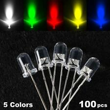 100Pcs 5mm COLOR Emitted Ultra-Bright Round LED Light Lamp Emitting Diodes Diode