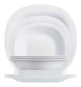 Opal Carine's Modern 12-pc Crockery Tempered Glass Color Black or White