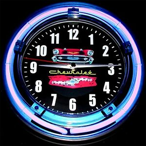 "1957 CHEVY LOGO - 11"" Blue Neon Wall Clock"